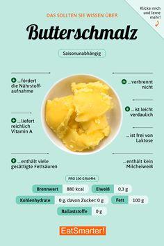 clarified butter - Butterschmalz You should know about butter lard Gourmet Recipes, Diet Recipes, Healthy Recipes, Healthy Life, Healthy Eating, Clarified Butter, Geklärte Butter, Roasted Pear, How To Roast Hazelnuts