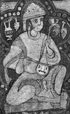 Female Musician in The Painted Wooden Ceiling of the Palatine Chapel. Cappella Palatina, Famtima period (c 1140 a.d.). Not a lute but uses the same sound holes as on the lutes from other pictures on the chapel ceiling. Sound holes also like Ganharan lute.