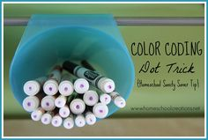 Color Coding Markers (and other school supplies) - a quick mom-sanity tip from homeschoolcreations.net