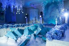 Credit to Shakirova Frozen Birthday Party, Frozen Party, Frozen Musical, Winter Party Themes, Galaxy Wedding, Frozen Theme, Space Wedding, Party Props, Blossom Flower