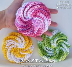 Free Pattern! - Crochet Spiral Scrubbies from Judith Prindle and Video by Naztazia