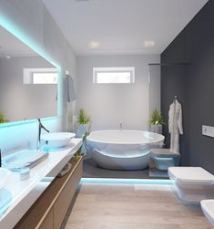 Sunrise House in Lviv / Leopolis Architecture Group Big Bathrooms, Beautiful Bathrooms, Modern Bathroom, Sunrise Home, Muebles Shabby Chic, Bungalow House Design, Toilet Design, Bathroom Design Luxury, House Blueprints