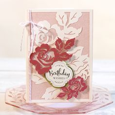 Anna Griffin Garden Rose Floral Greeting Card. Click here to make it now with the Cricut Explore: https://us.cricut.com/design/#/landing/project-detail/8221