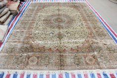 Handmade Duplo Knots Deixar design floral de seda persa carpete e tapete para sala de estar Crianças Quarto Bed Room 10x14 a08 na venda! em ...