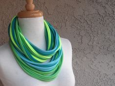 Check out our clothing selection for the very best in unique or custom, handmade pieces from our shops. Scarf Necklace, Loop Scarf, Blue Ties, Teal Blue, Color Pop, My Etsy Shop, Tropical, Window Shopping, Daily Inspiration