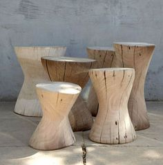 Solid wooden stools