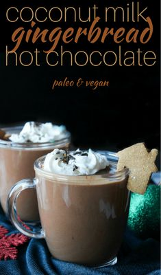 Gingerbread Vegan Hot Chocolate thick velvety and sure to satisfy those seasonal cravings Dairy refined sugar gluten free Click the image or link for more smoothie information. Vegan Hot Chocolate, Hot Chocolate Recipes, Smoothie Drinks, Fruit Smoothies, Vegan Sweets, Vegan Desserts, Vegan Christmas, Christmas Hot Chocolate, Italian Christmas
