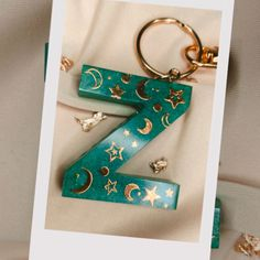 Stars moon green resin keychain with beads