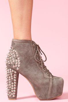 Spike Platform Boot - Gray Suede