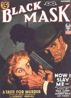 Black Mask magazine, Man woman dame captive kidnap hostage pistol gun pulp cover art noir crime gangster murder hanging