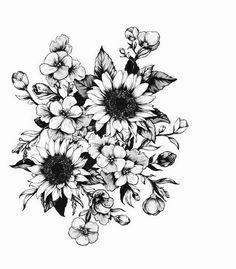 Sunflower tattoo, flower tattoos, floral tattoo