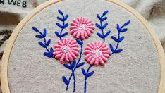 flower hand embroidery tutorial bullion knot stitch Hand Embroidery Tutorial, Embroidery Patterns, Silk Ribbon Embroidery, Kurti, Stitch, Flowers, Crafts, Needlepoint, Needlepoint Patterns