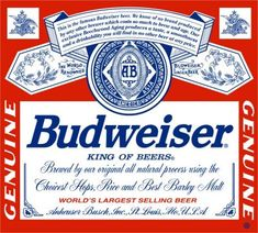 Giant Budweiser Beer Label Decal