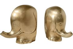 Brass Elephant Bookends, Pair