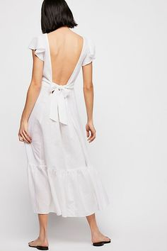 Free People White Midi Dress with Open Back and Tie