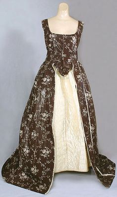 Unfinished glazed cotton open robe, c.1780, in pristine never laundered condition, from the Vintage Textile archives.