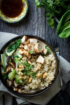 All my favourite flavours. Brown rice adds a nutty flavour and it's good carbs,mixed with good protein and good greens. Grilled chicken, bok choy and shiitake mushrooms. Foodnessgracious.com