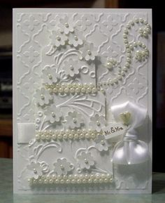Stunning Wedding Congratulations Card, White on White Embossed Three Tier Cake