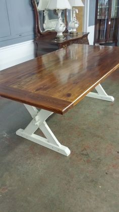 Custom farmhouse table made with reclaimed wood and build to our clients specifications. Store pick up only.