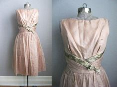 1950s Vintage Party Dress Organza Taffeta, Gold Brocade, $78.00