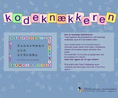 """Smart Notebook-lektion fra www.skolestuen.dk - """"Kodeknækkeren"""" - Kan I knække hemmelige kode-alfabeter og gætte svaret på quiz-spørgsmål om stort og småt? her er 6 færdige opgaver, samt skabeloner bagest i dokumentet, så I kan lave jeres egne krypterede opgaver og alfabeter."""