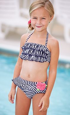From CWDkids: Ruffle Stripe Swim Suit.