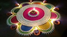 Easy Rangoli Designs Videos, Rangoli Designs Simple Diwali, Rangoli Designs Latest, Rangoli Designs Flower, Free Hand Rangoli Design, Rangoli Border Designs, Rangoli Patterns, Colorful Rangoli Designs, Rangoli Ideas