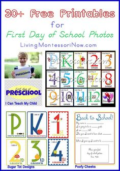 30+ Free Printables for First Day of School Photos Plus Back to School with KBN Link Party