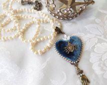 Ex Voto Heart Pendant necklace - Sacred Heart pendant- Seven Sorrows- Velvet Heart - Pearl - Catholic Jewelry - French Blue Catholic
