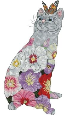 Counted Cross Stitch Needlepoint Chart Hollyhock Cat by Myrea Pettit