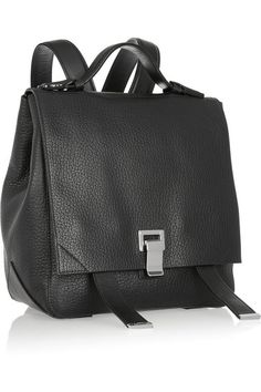 Black textured-leather (Calf) Flip lock-fastening front flap Weighs approximately 0.2lbs/ 0.1kg Made in Italy