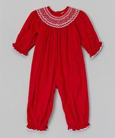 Look at this #zulilyfind! Red Smocked Corduroy Playsuit - Infant & Toddler by Stellybelly #zulilyfinds