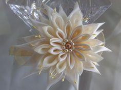 Beige Kanzashi Satin & Organza Flower attached to a by RosesBowses,