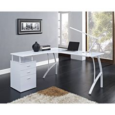 Wooden Computer Desk Corner Writing Table 3 Storage Drawer Home Office Study New