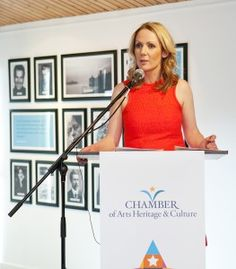 Audrey Mc Kenna CEO of the Chamber of Arts Heritage and Culture speaking at the launch of the event Chamber Of Commerce, Product Launch, Culture, Activities