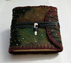 Another CAH Felted cover book with bone and leather closure
