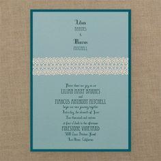 wedding invitations - Captivating Ecru Crochet - Invitation - Aqua Shimmer