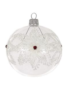 David Jones - Christmas Shop Clear Bauble With Floral Glitter