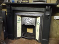Antique Victorian Fireplace slate fireplace surround and tiled