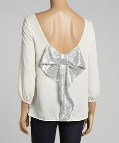White & Silver Tiered Top on #zulily today!
