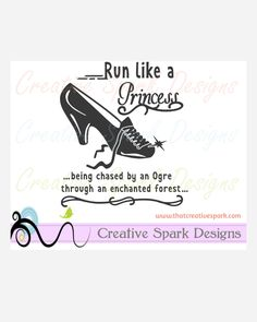 Run Like a Princess Glass Slipper Disney Marathon SVG Image for Iron-on Decals, vinyl, decor, Cinderella, sports, by CreativeSparkDesigns on Etsy