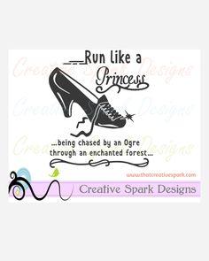 Run Like a Princess Glass Slipper Disney Marathon SVG Image for Iron-on Decals, vinyl, decor, Cinderella, sports, by CreativeSparkDesigns on Etsy