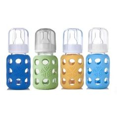 Lifefactory Glass Baby Bottles 4 Pack (4 oz. in Boy Colors) - Bright colored silicone sleeve (patent pending) helps to protect the bottle from breakage and provides a great gripping surface and tactile experience during feeding  Bottle and sleeve can be boiled or put in the dishwasher together.  Bisphenol-A (BPA), phthalate, and polyvinyl chloride (PVC) free  Silicone sleeve is non-toxic and free of plastics