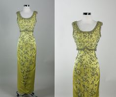 Vintage 50s 60s Elegant Silk Satin  Beaded by RedHouseVintages, $475.00