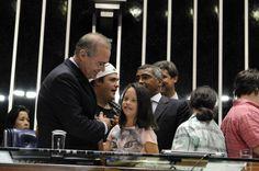 Presidente do Senado, Renan Calheiros (PMDB-AL), em sessão especial na qual foram discutidas a melhoria das políticas públicas e a inclusão social das pessoas com Síndrome de Down (20/03/2014). Foto: Jane de Araújo