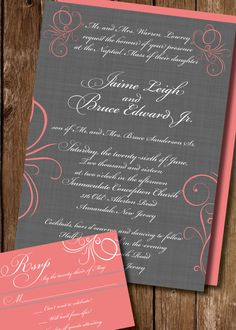 Swirl Classic Grey Coral Wedding Invitation by PaigesPaper on Etsy