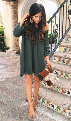 Cute off the shoulder dress & nude heels.