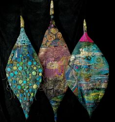 """Gordana Brelih - Three Leaves - Grand Prize winner """"Threadworks"""" , WCMA, in Fergus, ON Art Fibres Textiles, Textile Fiber Art, Textile Artists, Free Motion Embroidery, Machine Embroidery, Fabric Art, Fabric Crafts, Fabric Jewelry, Weaving"""