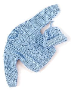 Free knitting pattern for Bob baby sweater and baby hat with cable detail
