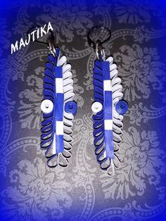 Királykék-fehér fülbevaló. (Majtika3) - Meska.hu